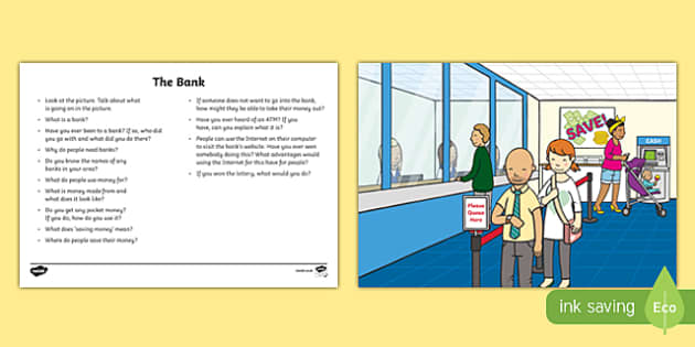 The Bank Oral Language Activity Sheet-Irish, worksheet