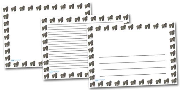Gorilla Landscape Page Borders- Landscape Page Borders - Page border, border, writing template, writing aid, writing frame, a4 border, template, templates, landscape