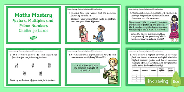 Year 6 Calculation Factors Multiples and Prime Numbers Maths Mastery Challenge Cards - year 6, calculation, maths mastery, challenge cards, factors, multiples and prime numbers, number day