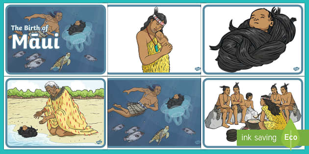 The Birth of Māui Story Sequencing - Maui Myths Maori legends, story sequencing, legends