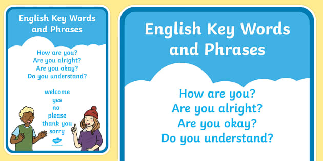 English Keywords and Phrases A4 Display Poster