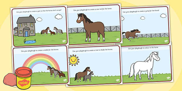 Horses and Ponies Playdough Mats - horses, ponies, playdough