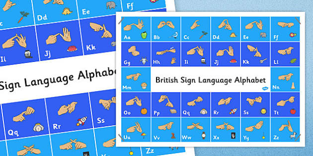 Large British Sign Language Alphabet Poster - alphabet, poster