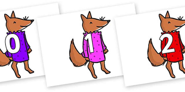 Numbers 0-50 on Small Fox 3 to Support Teaching on Fantastic Mr Fox - 0-50, foundation stage numeracy, Number recognition, Number flashcards, counting, number frieze, Display numbers, number posters