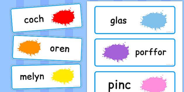 Colour Word Cards Welsh - colour, word, cards, welsh, words