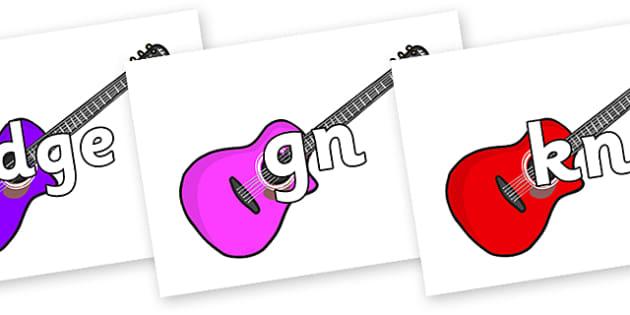 Silent Letters on Guitars - Silent Letters, silent letter, letter blend, consonant, consonants, digraph, trigraph, A-Z letters, literacy, alphabet, letters, alternative sounds