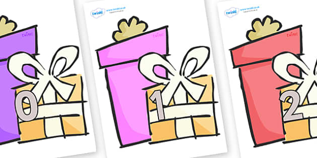 Numbers 0-31 on Presents - Gifts - 0-31, foundation stage numeracy, Number recognition, Number flashcards, counting, number frieze, Display numbers, number posters