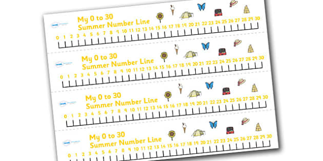Summer Number Line (0-30) - Summer, season, Maths, Math, numberline, numberline display, holidays, beach, sun, flowers, ice cream, sea, seaside