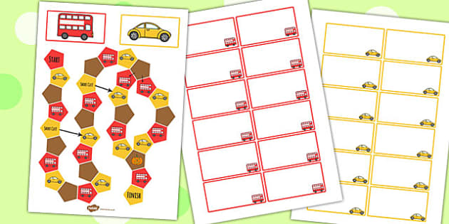 Transport Themed Editable Board Game - transport, board game