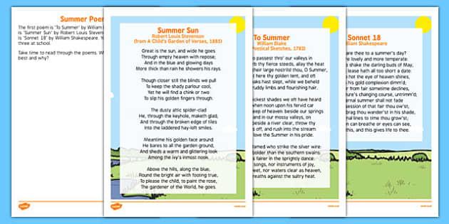 Elderly Care Summer Poems - Elderly, Reminiscence, Care Homes, Summer