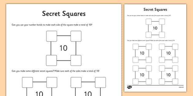 Secret Squares Activity Sheet, worksheet