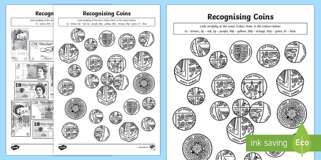 Recognising Coins and Notes Colouring Pages - Measurement, measures, recognising coins and notes, coins and notes, colouring sheets, colouring, mo