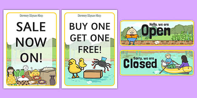 Nursery Rhyme Shop Role Play Signs - nursery rhyme shop, nursery rhyme, rhyme, signs, display