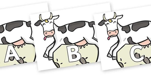 A-Z Alphabet on Cow and Moon - A-Z, A4, display, Alphabet frieze, Display letters, Letter posters, A-Z letters, Alphabet flashcards
