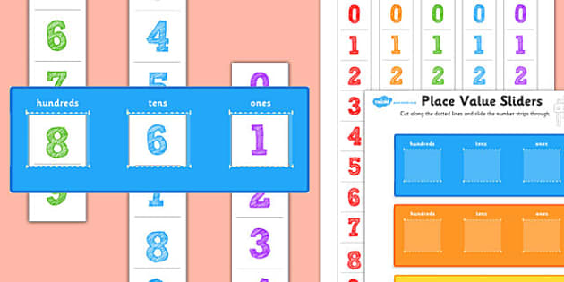 Hundreds, Tens and Ones Place Value Sliders - hundredsd, tens, ones, place value, sliders