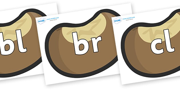 Initial Letter Blends on Conkers - Initial Letters, initial letter, letter blend, letter blends, consonant, consonants, digraph, trigraph, literacy, alphabet, letters, foundation stage literacy