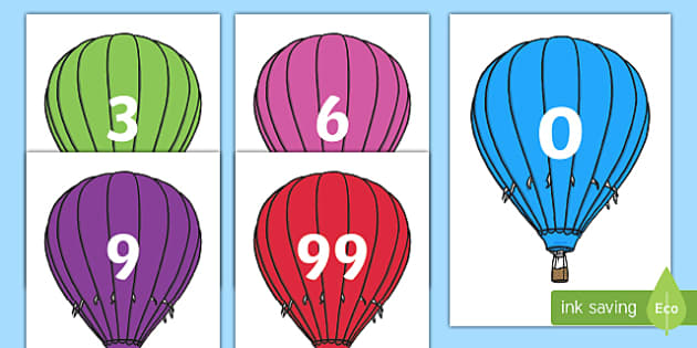 Counting in 3s on Hot Air Balloons - counting in 3s, hot air balloons, count, display