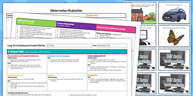 ICT Area Editable Continuous Provision Plan and Challenge Cards Pack Reception FS2