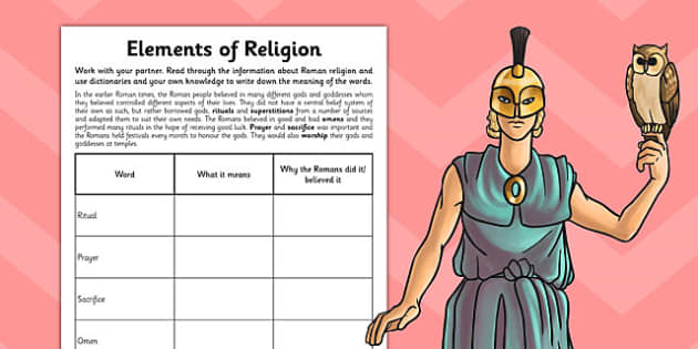 The Romans Elements of Religion Activity Sheet - romans, activity, worksheet