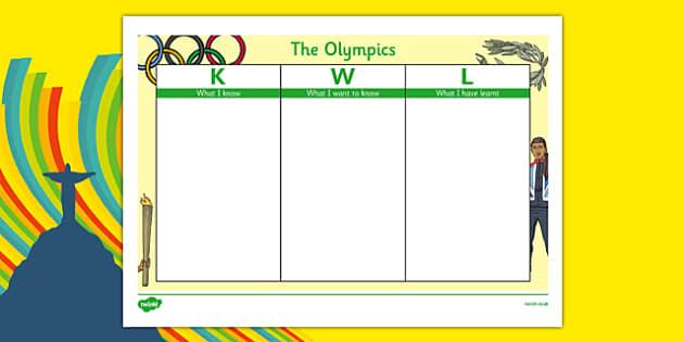 The Olympics Rio 2016 KWL Grid - the olympics, rio olympics, 2016 rio, 2016 olympics, kwl grid