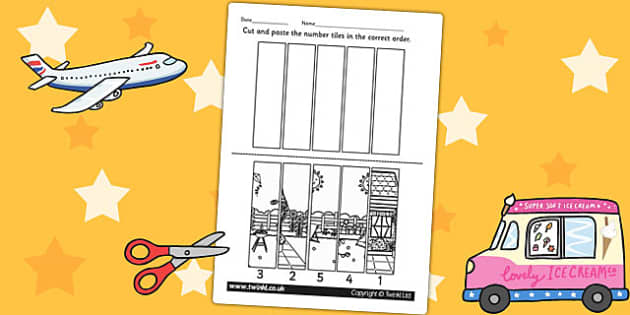 Summer Themed Number Sequencing Puzzle - seasons, numeracy, maths
