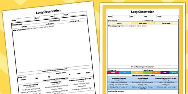 EYFS Long Observation Sheet - planning, EYFS assessment
