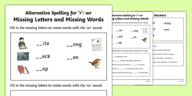 Wr Grapheme Missing Words Phase 5 Alternative Spelling Activity Sheet, worksheet
