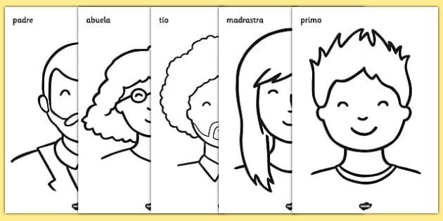Hojas de colorear - Mi familia - padre, madre, hermano, abuelo, parientes, árbol de familia, motricidad fina, pintar