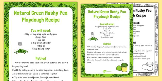 Natural Green Mushy Pea Playdough Recipe - Jack and the Beanstalk, Jaspers Beanstalk, Princess and the Pea, bean