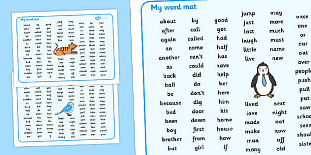 Word Mat Early/First - KS1, CLL, Communication language and literacy,  Display, Word mat, Key words, high frequency words, foundation stage literacy, DfES Letters and Sounds, Letters and Sounds, spelling
