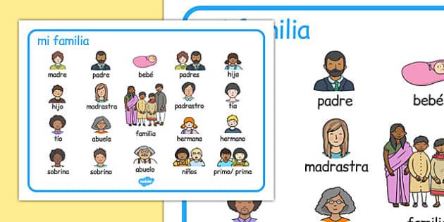 mi familia Word Mat Spanish - spanish, family, word mat, word, mat, language