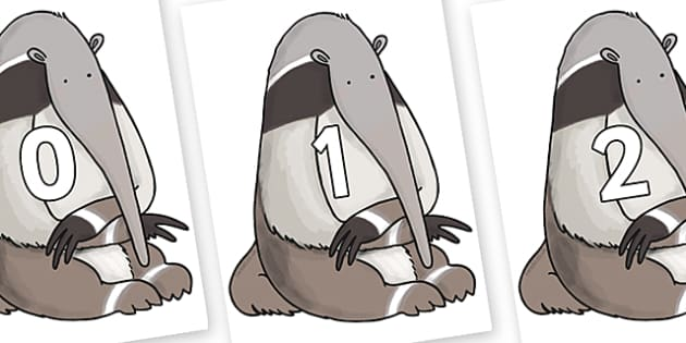Numbers 0-31 on Anteater to Support Teaching on The Great Pet Sale - 0-31, foundation stage numeracy, Number recognition, Number flashcards, counting, number frieze, Display numbers, number posters