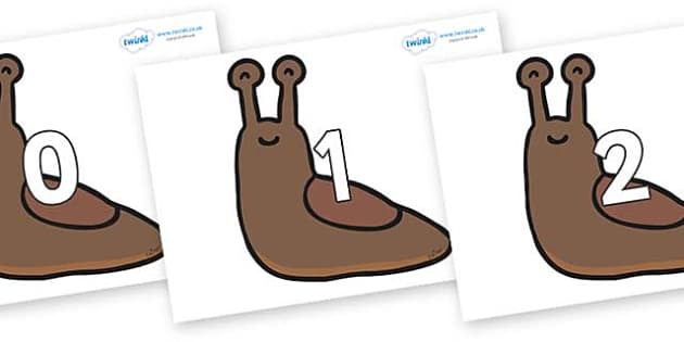 Numbers 0-31 on Slugs - 0-31, foundation stage numeracy, Number recognition, Number flashcards, counting, number frieze, Display numbers, number posters