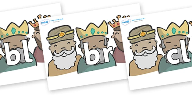 Initial Letter Blends on Three Kings - Initial Letters, initial letter, letter blend, letter blends, consonant, consonants, digraph, trigraph, literacy, alphabet, letters, foundation stage literacy