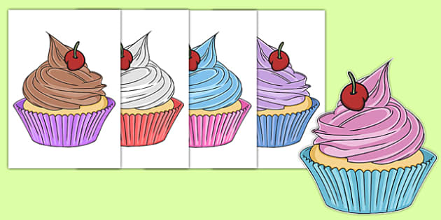 Five Cupcakes Cut Outs - nz, new zealand, five cupcakes, cut outs