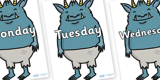 Days of the Week on Trolls  - Days of the Week, Weeks poster, week, display, poster, frieze, Days, Day, Monday, Tuesday, Wednesday, Thursday, Friday, Saturday, Sunday