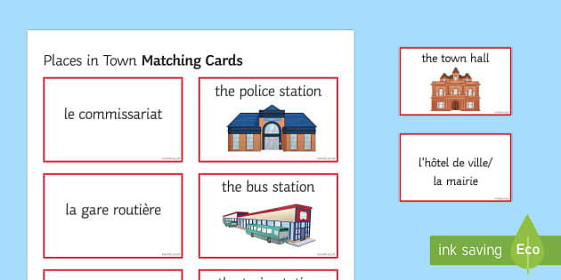 Places in Town Matching Cards - french, places in town, match, matching, cards, activity