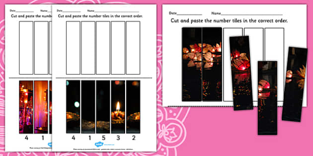 Diwali Photo Number Sequencing Puzzles - sequence, numbers, RE