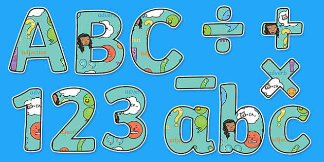 SPaG Themed Display Letters and Numbers Pack - English lettering, English display, English display lettering, spag, display