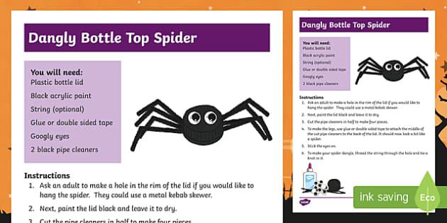 Halloween Bottle Top Spider Craft Instructions
