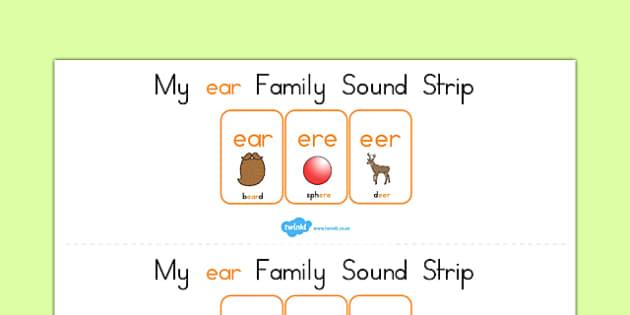 My Ear Family Sound Strip - sound family, visual aid, literacy