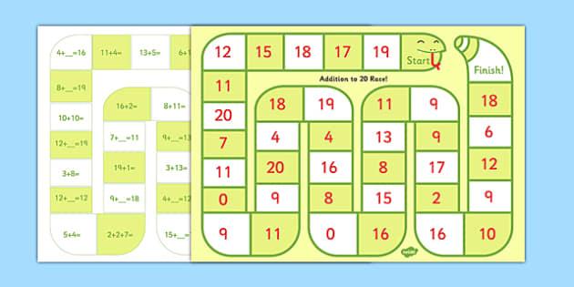 Self Checking Addition to 20 Board Game - self-check, board, game