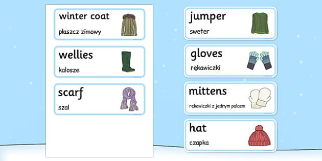 Winter Clothes Word Cards Polish Translation - polish, winter, clothes, word cards, word, cards