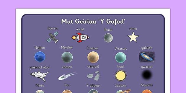 Mat Geiriau Y Gofod - gofod, visual aid, keywords