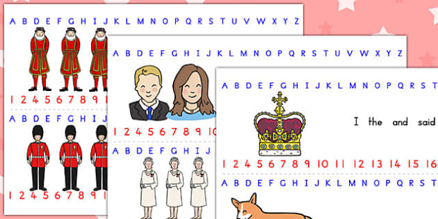Royal Family Combined Number Alphabet Strips - royal, visual aid
