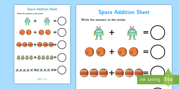 Space Themed Addition Sheet - space, addition sheet, addition, worksheets, maths, numeracy, themed addition sheet, adding, add, plus, themed addition sheet