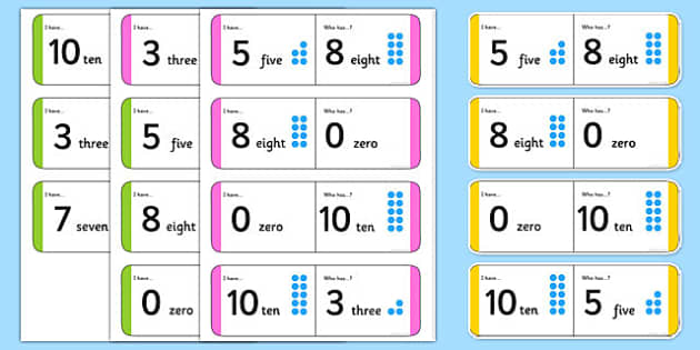 Numbers 0-10 Small Group Loop Cards