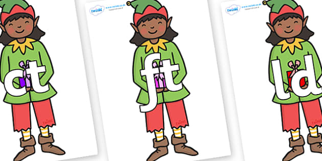 Final Letter Blends on Green Elf (Girl) - Final Letters, final letter, letter blend, letter blends, consonant, consonants, digraph, trigraph, literacy, alphabet, letters, foundation stage literacy