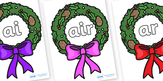 Phase 3 Phonemes on Christmas Wreaths - Phonemes, phoneme, Phase 3, Phase three, Foundation, Literacy, Letters and Sounds, DfES, display