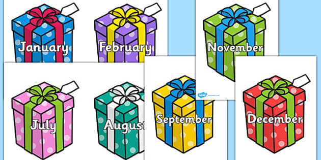Months of the Year on Birthday Presents - months, birthdays